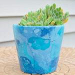 Как раскрасить цветочный горшок с помощью лака для ногтей и воды?