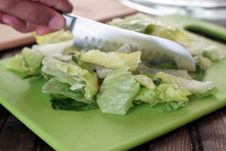 нарезка листьев салата